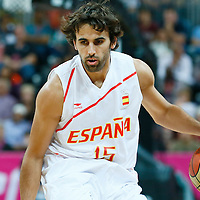 06 August 2012: Spain Victor Sada brings the ball upcourt during 88-82 Team Brazil victory over Team Spain, during the men's basketball preliminary, at the Basketball Arena, in London, Great Britain.