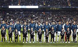 December 6, 2017 - Madrid, Spain - The alignment of Real Madrid during the champions anthem before the UEFA Champions League group H match between Real Madrid and Borussia Dortmund at Santiago Bernabéu. (Credit Image: © Manu_reino/SOPA via ZUMA Wire)
