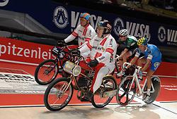 12.01.2012, ÖVB-Arena, Bremen, GER, Sixdays Bremen, im Bild Derny, Jesper Morkov (Team Weser Kurier), Danny Stam (Team Schmidt + Koch) // during the Sixdays Bremen on 2012/01/12, ÖVB-Arena, Bremen, Germany. EXPA Pictures © 2012, PhotoCredit: EXPA/ nph/ Frisch..***** ATTENTION - OUT OF GER, CRO *****