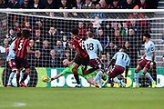 Goal - Philip Billing (29) of AFC Bournemouth scores a goal beating Pepe Reina (29) of Aston Villa to give a 1-0 lead during the Premier League match between Bournemouth and Aston Villa at the Vitality Stadium, Bournemouth, England on 1 February 2020.