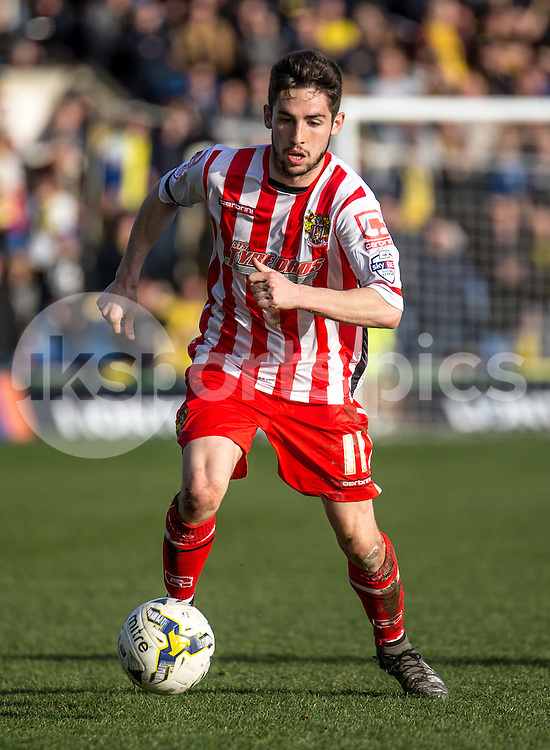 Tom Pett of Stevenage during the Sky Bet League 2 match between Oxford United and Stevenage at the Kassam Stadium, Oxford, England on the 25th March 2016. Photo by Liam McAvoy.