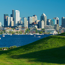 An evening view of the Seattle skyline from Lake Union. Seattle, Washington