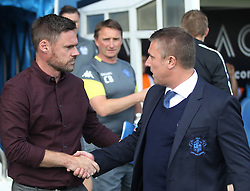 Scunthorpe United manager Graham Alexander (L) and Bury manager Lee Clark before the game - Mandatory by-line: Jack Phillips/JMP - 02/09/2017 - FOOTBALL - Gigg Lane - Bury, England - Bury v Scunthorpe United - English Football League One