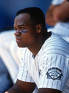 CHICAGO - 1998:  Frank Thomas of the Chicago White Sox looks on during an MLB game at Comiskey Park in Chicago, Illinois.  Thomas played for the White Sox from 1990-2005.  (Photo by Ron Vesely)
