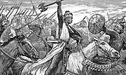 Charles Martel (c688-741) 'The Hammer' using a battle axe while repulsing the Moors at the Battle of Tours, near Poitiers, 732. King of Franks from 719. Grandfather of Charlemagne (747-814).  Wood engraving 1892.