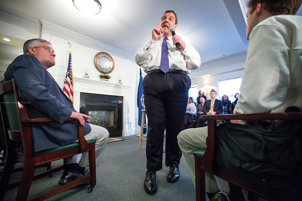 Presidential Hopeful Chris Christie (R-NJ) holds a town hall style meeting at the White Rock Senior Living Community in Bow, New Hampshire.