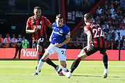 Callum Wilson (13) of AFC Bournemouth and Harry Wilson (22) of AFC Bournemouth close in on Seamus Coleman (23) of Everton during the Premier League match between Bournemouth and Everton at the Vitality Stadium, Bournemouth, England on 15 September 2019.