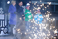 ZAKOPANE, POLAND - 2016 MARCH 09: (L-R) First Lady Agata Kornhauser Duda with Special Olympics and Andrzej Duda President of Republic of Poland and Special Olympics athletes Michal Sek and Olga Sek attend in opening ceremony of the 9th National Special Olympics Winter Games on March 9, 2016 at Wielka Krokwia Hill in Zakopane, Poland.<br /> <br /> Picture also available in RAW (NEF) or TIFF format on special request.<br /> <br /> For editorial use only. Any commercial or promotional use requires permission.<br /> <br /> Adam Nurkiewicz declares that he has no rights to the image of people at the photographs of his authorship.<br /> <br /> Mandatory credit:<br /> Photo by © Adam Nurkiewicz / Mediasport