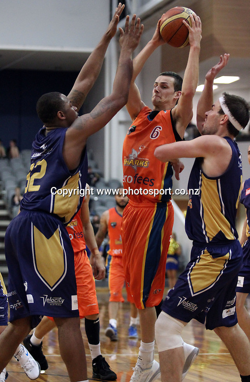 Dan Peck drives the ball through the Nuggets defence.<br /> Bartercard NBL- OceanaGold Nuggets v Zero Fees Southland Sharks, 18 March 2012, Edgar Centre, Dunedin, New Zealand.<br /> Photo: Rob Jefferies / photosport.co.nz