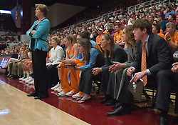 December 19, 2009; Stanford, CA, USA;  Tennessee Lady Volunteers head coach Pat Summitt (left) stand along the bench with her son Tyler Summitt (right) sitting down during the second half at Maples Pavilion.  Stanford defeated Tennessee 67-52.