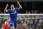 Frank Lampard of Chelsea celebrates after scoring to make it 3-1