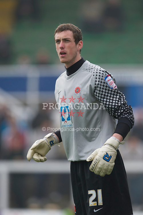 HARTLEPOOL, ENGLAND - Friday, April 22, 2011: Hartlepool United's goalkeeper Andy Rafferty in action against Tranmere Rovers during the Football League One match at Victoria Park. (Photo by David Rawcliffe/Propaganda)