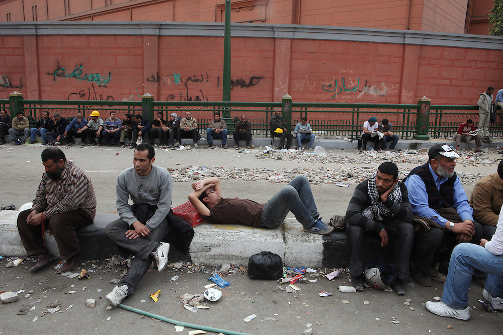 Protesters who were involved with clashes against Mubarak's thugs rest at a site near Tahrir Square.