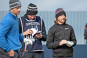 Tommy Fleetwood (right) on the 17th tee during the final round of the Alfred Dunhill Links Championships 2018 at West Sands, St Andrews, Scotland on 7 October 2018