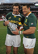 Pierre Spies and Victor Matfield of the Springboks with the 2009 Lions Series Trophy.<br /> Rugby - 090704 - Springboks vs British&Irish Lions - Coca-Cola Park - Johannesburg - South Africa. The Lions won the third test 28-9 but lost the series 2-1 to the Springboks.<br /> Photographer : Anton de Villiers / SASPA