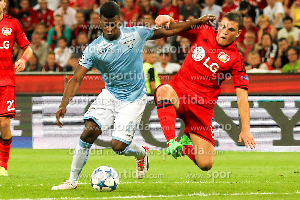 26.08.2015, BayArena, Leverkusen, GER, UEFA CL, Bayer 04 Leverkusen vs Lazio Rom, Playoff, R&uuml;ckspiel, im Bild v.l. Keita Balde (#14, Lazio Rom) wird von Kyriakos Papadopoulos (#5, Bayer 04 Leverkusen) gefoult // during UEFA Champions League Playoff 2nd Leg match between Bayer 04 Leverkusen and SS Lazio at the BayArena in Leverkusen, Germany on 2015/08/26. EXPA Pictures &copy; 2015, PhotoCredit: EXPA/ Eibner-Pressefoto/ Deutzmann<br /> <br /> *****ATTENTION - OUT of GER*****