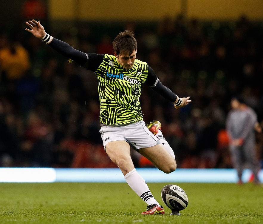 Ospreys' Sam Davies during the pre match warm up<br /> <br /> Photographer Simon King/Replay Images<br /> <br /> Guinness PRO14 Round 21 - Cardiff Blues v Ospreys - Saturday 28th April 2018 - Principality Stadium - Cardiff<br /> <br /> World Copyright © Replay Images . All rights reserved. info@replayimages.co.uk - http://replayimages.co.uk