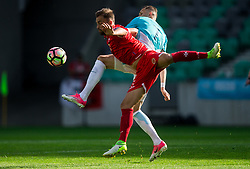 Andrei Agius of Malta vs Josip Ilicic of Slovenia during football match between National teams of Slovenia and Malta in Round #6 of FIFA World Cup Russia 2018 qualifications in Group F, on June 10, 2017 in SRC Stozice, Ljubljana, Slovenia. Photo by Vid Ponikvar / Sportida
