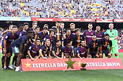 FC Barcelona team group with the trophy during the Joan Gamper trophy game between FC Barcelona and CA Boca Juniors in Camp Nou Stadium at Barcelona, on 15 of August of 2018, Spain, Photo Pressinphoto / Pro Shots / ProSportsImages / DPPI