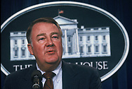 Presidential advisor Ed Meese answers a question at a White House press briefing in October 1984.<br /> Photo by Dennis Brack
