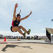 23 March 2018: Melody Harris competes in the open long jump event Friday afternoon at the 40th Annual Aztec Invitational.<br /> More game action at sdsuaztecphotos.com