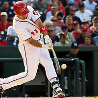 WASHINGTON, DC - AUGUST 30:  Washington Nationals first baseman Ryan Zimmerman (11) at  bat in the first inning during an MLB game between the Miami Marlins and the Washington Nationals on August 30, 2017, at Nationals Park in Washington, D.C. The Washington Nationals defeated the Miami Marlins, 4-0.  (Photo by Mark Goldman/Icon Sportswire)
