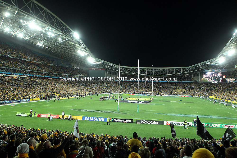 All Blacks sing the national anthem. Wide angle of ANZ Stadium<br /> International Test rugby union match, Australia v New Zealand, Sydney, Australia. Saturday 18 August 2012. Photo: Paul Seiser/PHOTOSPORT