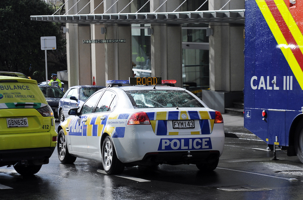 Emergency Services, Police, Fire and Ambulance attend a report of white powder in the Treasury Building on the Terrace, Wellington, New Zealand, Monday, July 15, 2013. Credit:SNPA / Ross Setford