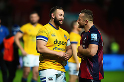 Will Stuart of Bath Rugby and Max Lahiff of Bristol Bears have a chat after the match - Mandatory byline: Patrick Khachfe/JMP - 07966 386802 - 18/10/2019 - RUGBY UNION - Ashton Gate Stadium - Bristol, England - Bristol Bears v Bath Rugby - Gallagher Premiership