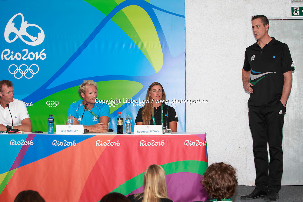 Team NZ Chef de Mission, Rob Waddell; Julia Edward; Emma Twigg; Alistair Bond; Mahe Drysdale; Eric Murray; Rebecca Scown:  Press Conference: ROWING and Rob Waddell, New Zealand Chef de Mission. MPC Rio 2016 Olympic Games, Monday 1 August. CREDIT: Libby Law / www.photosport.nz