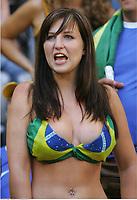 Fan Brasilien , fans illustrasjon<br /> Fussball WM 2006 Brasilien - Australien<br /> Brasil - Australia<br /> Norway only