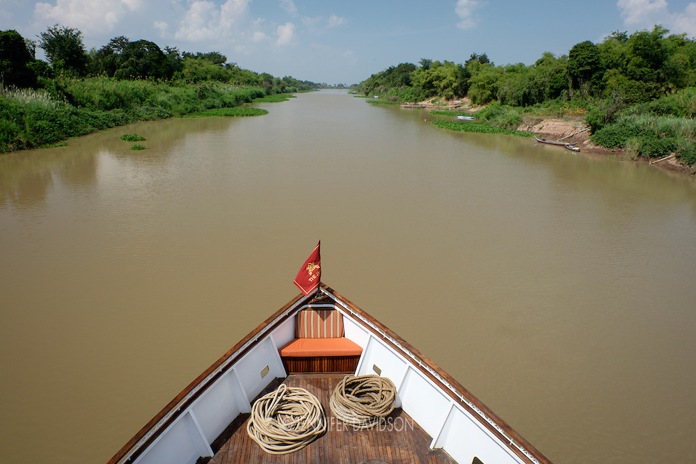 The Jahan cruises up the TOnle Sap River during a Lindblad-National Geographic Expedition voyage through Cambodia and Vietnam.