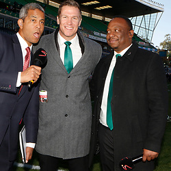 Jeremy Guscott rugby commentator with Jean de Villiers rugby commentator and Xola Ntshinga Supersport rugby commentator during the 2018 Castle Lager Incoming Series 2nd Test match between South Africa and England at the Toyota Stadium.Bloemfontein,South Africa. 16,06,2018 Photo by (Steve Haag JMP)