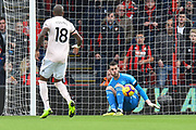 David De Gea (1) of Manchester United makes a save from Ryan Fraser (24) of AFC Bournemouth during the Premier League match between Bournemouth and Manchester United at the Vitality Stadium, Bournemouth, England on 3 November 2018.