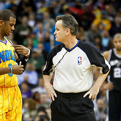 January 22, 2011; New Orleans, LA, USA; New Orleans Hornets point guard Chris Paul (3) talks with an official during the third quarter of a game against the San Antonio Spurs at the New Orleans Arena. The Hornets defeated the Spurs 96-72.  Mandatory Credit: Derick E. Hingle