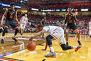 LUBBOCK, TX - MARCH 1: Devon Thomas #2 of the Texas Tech Red Raiders saves the ball from going out of bounds during the game against the Texas Longhorns<br />  on March 1, 2017 at United Supermarkets Arena in Lubbock, Texas. Texas Tech defeated Texas 67-57. (Photo by John Weast/Getty Images) *** Local Caption *** Devon Thomas