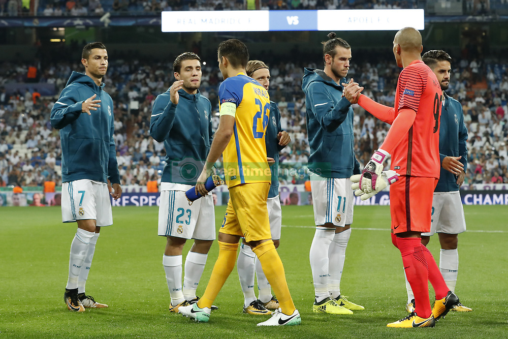 (L-R) Cristiano Ronaldo of Real Madrid, Mateo Kovacic of Real Madrid, Nuno Morais of APOEL FC, Luka Modric of Real Madrid, Gareth Bale of Real Madrid, goalkeeper Boy Waterman of APOEL FC, Isco of Real Madrid during the UEFA Champions League group H match between Real Madrid and APOEL FC on September 13, 2017 at the Santiago Bernabeu stadium in Madrid, Spain.