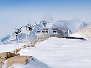 """Research Base In Antarctica<br /> Looking more like a prop from The hit movies """"Star Wars"""" this sci-fi looking building is in fact thePrincess Elisabeth Station based in Antarctica, Designed with high energy-efficiency standards in mind, the Princess Elisabeth Station minimizes the energy loss while optimizing energy-use through a revolutionary smart grid. The Princess Elisabeth station is solidly anchored upon the granite ridge of Utsteinen Nunatak, in what is known as the Dronning Maud Land region of East-Antarctica.<br /> ©International Polar Foundation/Exclusivepix"""