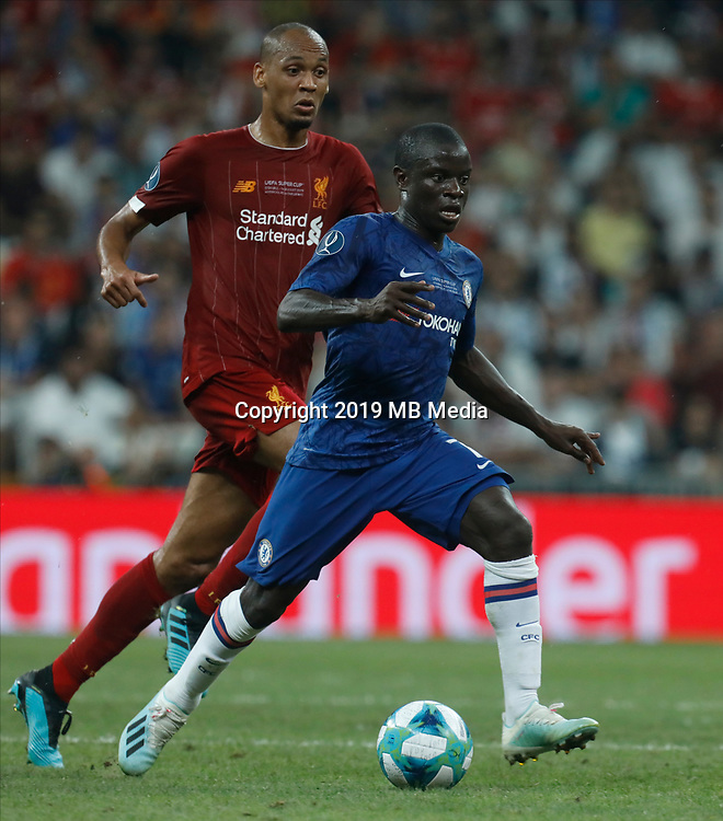 ISTANBUL, TURKEY - AUGUST 14: Fabinho (L) of Liverpool and N'Golo Kante of Chelsea vie for the ball during the UEFA Super Cup match between Liverpool and Chelsea at Vodafone Park on August 14, 2019 in Istanbul, Turkey. (Photo by MB Media/Getty Images)