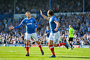 Portsmouth Forward, Brett Pitman (8) celebrates after scoring a goal to make it 1-0 during the EFL Sky Bet League 1 match between Portsmouth and Peterborough United at Fratton Park, Portsmouth, England on 5 May 2018. Picture by Adam Rivers.