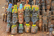 Daasanach Tribe handicrafted wooden statues for sale at the regional market. Photographed in Omo River Valley, Ethiopia, Africa