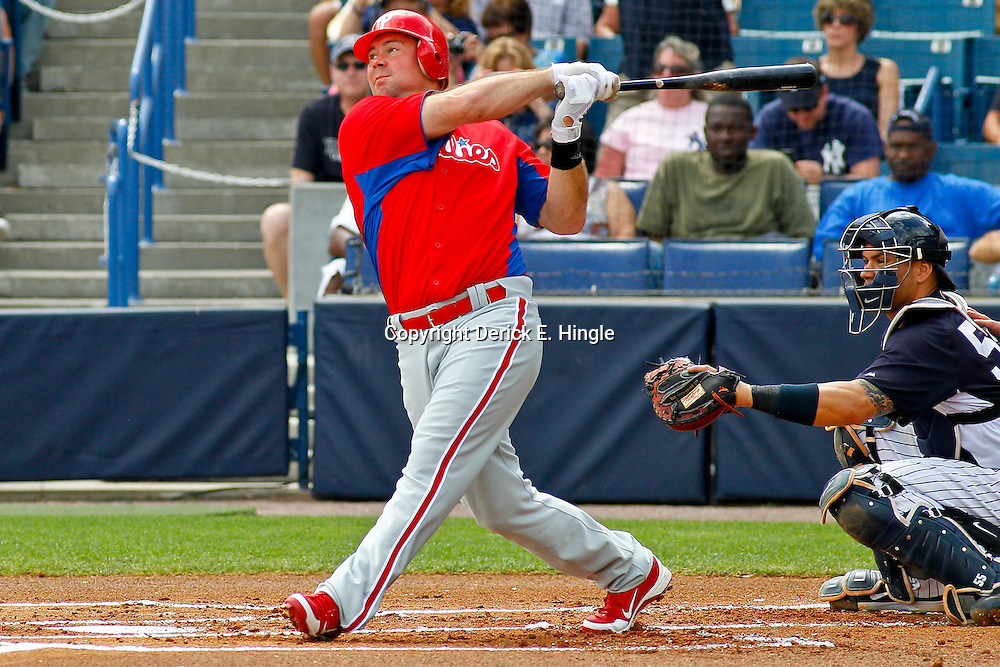 March 11, 2012; Tampa Bay, FL, USA; Philadelphia Phillies third baseman Ty Wigginton (24) against the New York Yankees during a spring training game at George M. Steinbrenner Field. Mandatory Credit: Derick E. Hingle-US PRESSWIRE