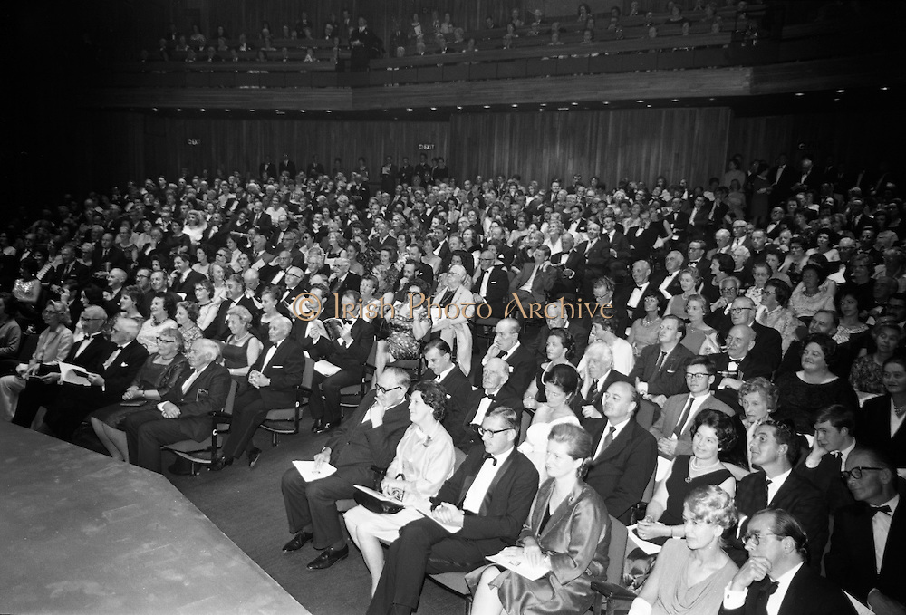 Opening of the new Abbey Theatre, designed by Michael Scott. The first night audience..18.07.1966.<br />