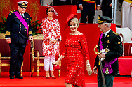 21-7-2018 BRUSSELS, BELGIUM: Princess Claire of Belgium and Prince Laurent of Belgium pictured during the military parade on the Belgian National Day pictured during the military parade on the Belgian National Day, Prince Emmanuel, Princess Eleonore, Prince Gabriel, Crown Princess Elisabeth, Queen Mathilde of Belgium and King Philippe - Filip of Belgium pictured after the Te Deum mass, on the occasion of today's Belgian National Day, at the Saint Michael and St Gudula Cathedral (Cathedrale des Saints Michel et Gudule / Sint-Michiels- en Sint-Goedele kathedraal) COPYRIGHT ROBIN UTRECHT