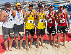 04.08.2013, Klagenfurt, Strandbad, AUT, A1 Beachvolleyball EM 2013, Finale Herren, Spiel 72, im Bildv.l.n.r. Janis Smedins 2 LAT, Alexandrs Smoilovs 1 LAT, Pablo HERRERA 1 ESP / Adrián GAVIRA Collado 2 ESP, Mariusz PRUDEL 1 POL - Grzegorz FIJALEK 2 POL // during Final match 72 of the A1 Beachvolleyball European Championship at the Strandbad Klagenfurt, Austria on 2013/08/04. EXPA Pictures © 2013, EXPA Pictures © 2013, PhotoCredit: EXPA/ Mag. Gert Steinthaler