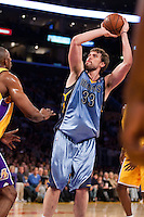 06 November 2009: Center Marc Gasol of the Memphis Grizzles shoots a junpshot against the Los Angeles Lakers during the first half of the Lakers 114-98 victory over the Grizzles at the STAPLES Center in Los Angeles, CA.