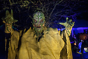 "Chris Baker is photographed in his haunted yard in South Yarmouth, MA. Every year Baker sets up an elaborate Halloween display in his yard and on Halloween, neighborohood residents walk through his frightening ""vortex"" of horror while trick or treating."
