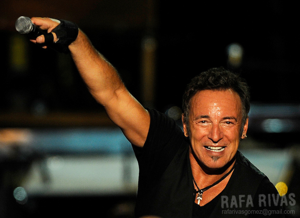 US rock musician Bruce Springsteen performs at the San Mames stadium, on July 26, 2009, in the northern Spanish Basque city of Bilbao, during his first concert of the Spanish tour. PHOTO/Rafa Rivas