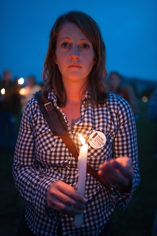 Nancy de Pastino, a regional manager for the group Moms Demand Action for Gun Sense in America, attends the vigil for slain German exchange student, Diren Dede, on May 2, 2014, at the Fort Missoula soccer field where Dede had played.