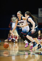 March 6 2016: Robert Morris Colonials guard Ashley Ravelli (14) brings the ball up court during the second half in the NCAA Women's Basketball game between the Fairleigh Dickinson Lady Knights and the Robert Morris Colonials at the Charles L. Sewall Center in Moon Township, Pennsylvania (Photo by Justin Berl)